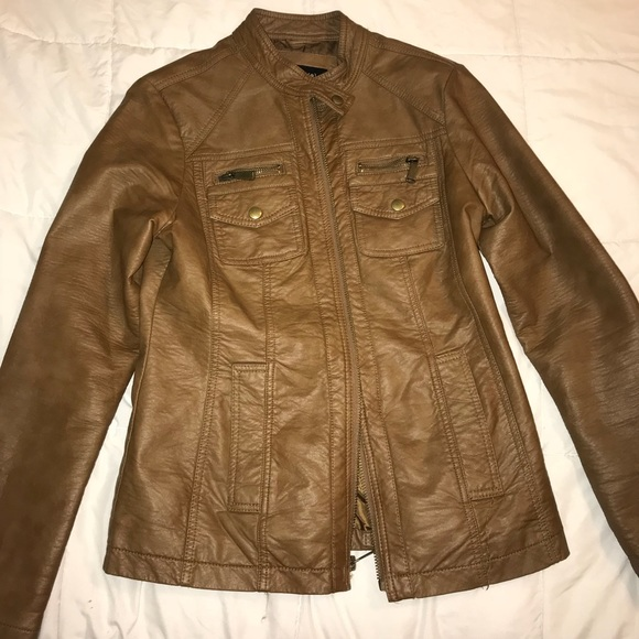 f656020c7 women's Apt. 9 brown faux- leather jacket